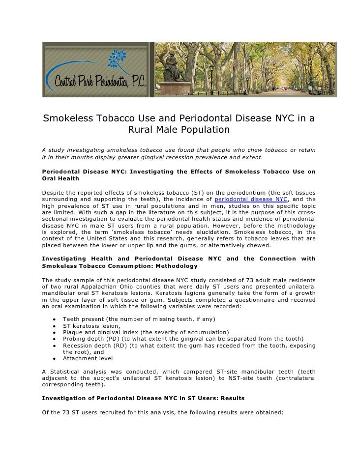 Smokeless Tobacco Use and Periodontal Disease NYC in a                Rural Male PopulationA study investigating smokeless...