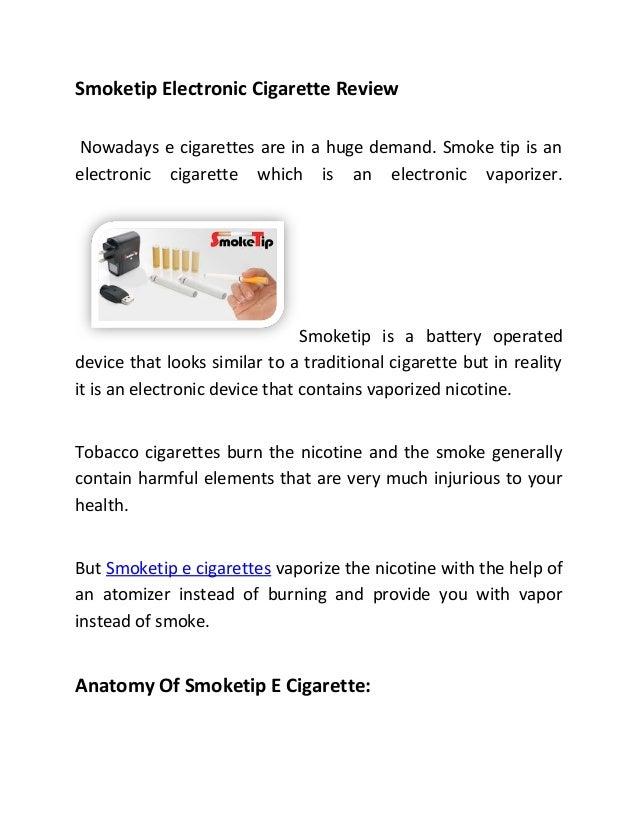 Smoketip Electronic Cigarettes Review