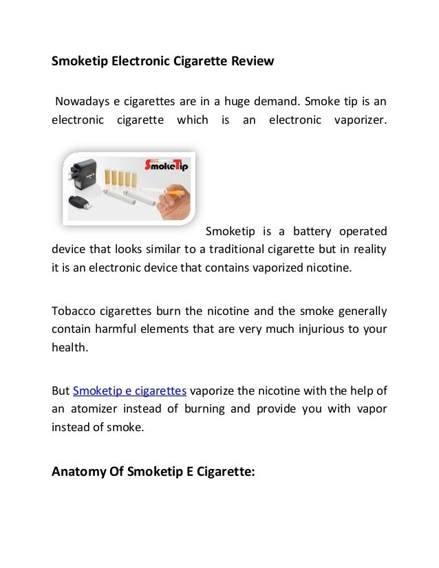 Smoketip Electronic Cigarettes Review