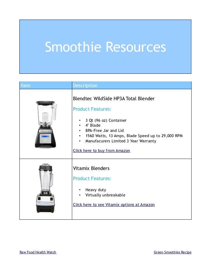 Green Smoothie Resource List