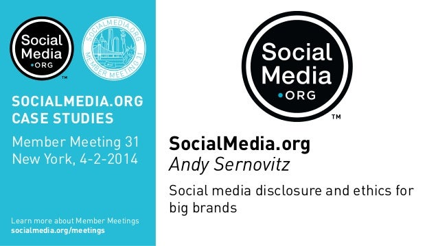 Social media disclosure and ethics for big brands, presented by Andy Sernovitz