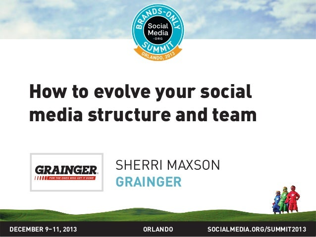 SOCIALMEDIA.ORG/SUMMIT2013ORLANDO How to evolve your social media structure and team SHERRI MAXSON GRAINGER DECEMBER 9–11,...