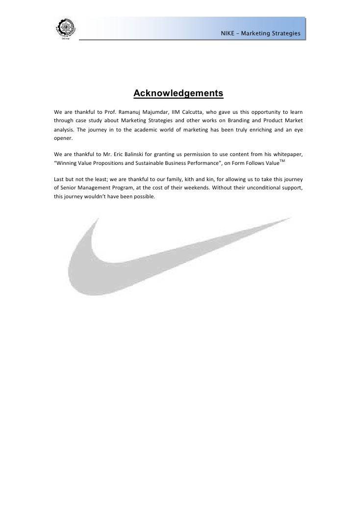 case study on nike marketing Integrated case study on nike  which is why they are also known for their innovative marketing nike's advertisement creates a culture among the consumers.