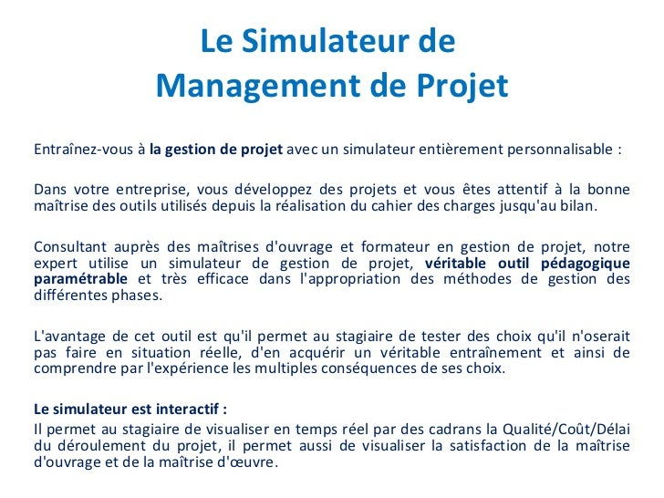 Le Simulateur de Management de Projet<br />Entraînez-vous à la gestion de projet avec un simulateur entièrement personnali...
