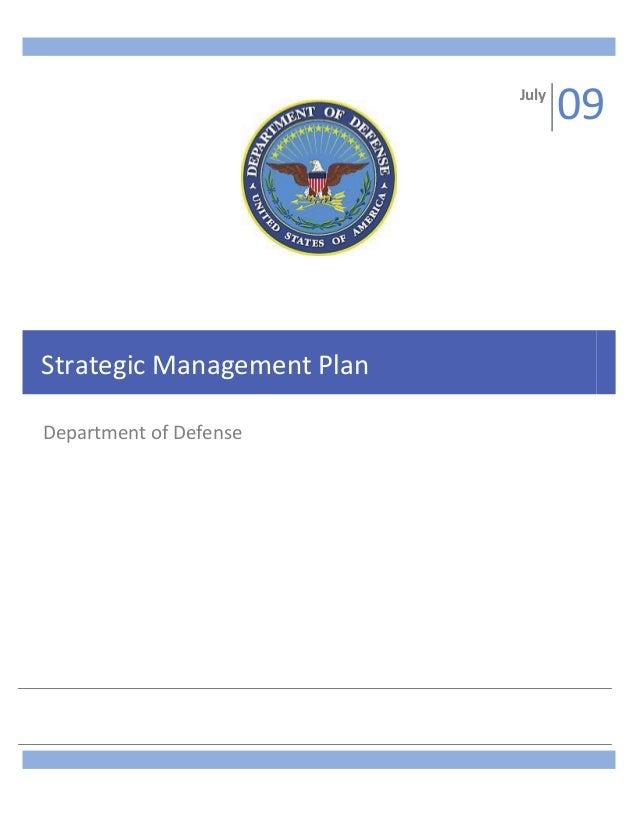 July  Strategic Management Plan Department of Defense  09