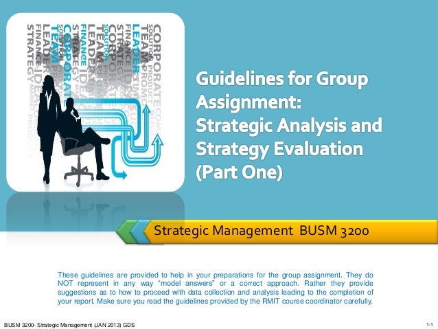 Strategic Management BUSM 3200                  These guidelines are provided to help in your preparations for the group a...