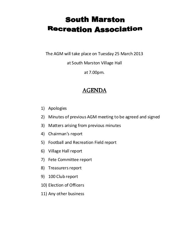 The AGM will take place on Tuesday 25 March 2013 at South Marston Village Hall at 7.00pm. AGENDAAGENDAAGENDAAGENDA 1) Apol...