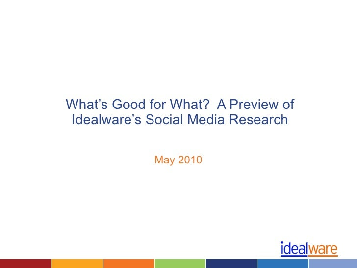 What's Good for What?  A Preview of Idealware's Social Media Research May 2010