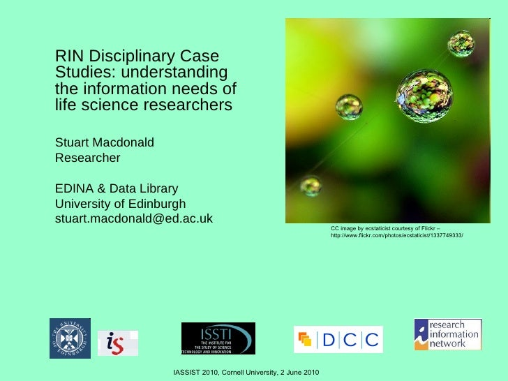 RIN Disciplinary Case Studies: understanding the information needs of life science researchers