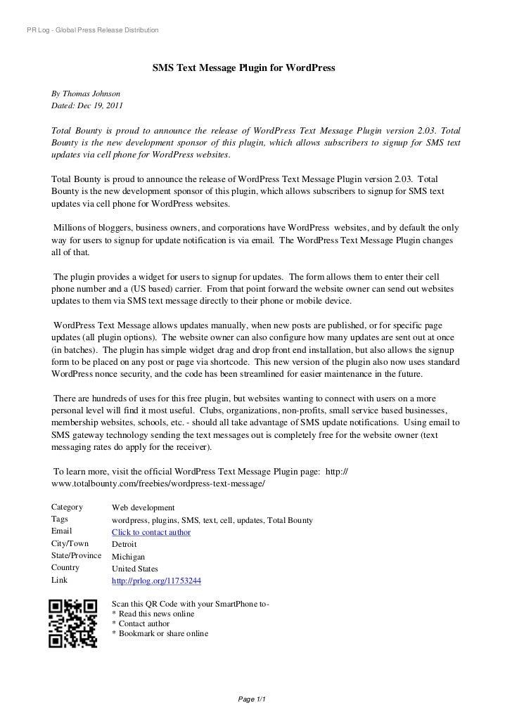 PR Log - Global Press Release Distribution                                        SMS Text Message Plugin for WordPress   ...