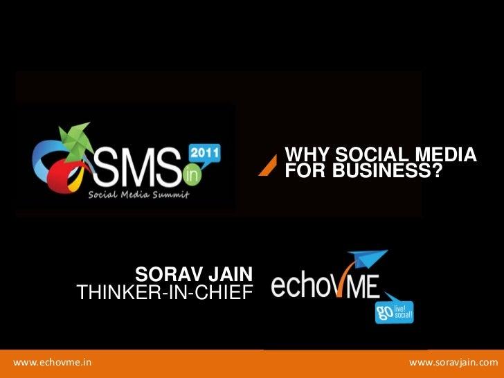 WHY SOCIAL MEDIA                              FOR BUSINESS?                SORAV JAIN           THINKER-IN-CHIEFwww.echovm...