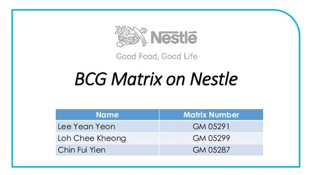 bcg matrix nestle essays Strategic choices by nestle (chocolate & confectionery division) essay custom student mr teacher eng 1001-04 20 april 2016 the bcg matrix is as below for the nestle group (chocolate & confectionery business unit) figure 3: nestlé's chocolate and confectionery products market share position individually.