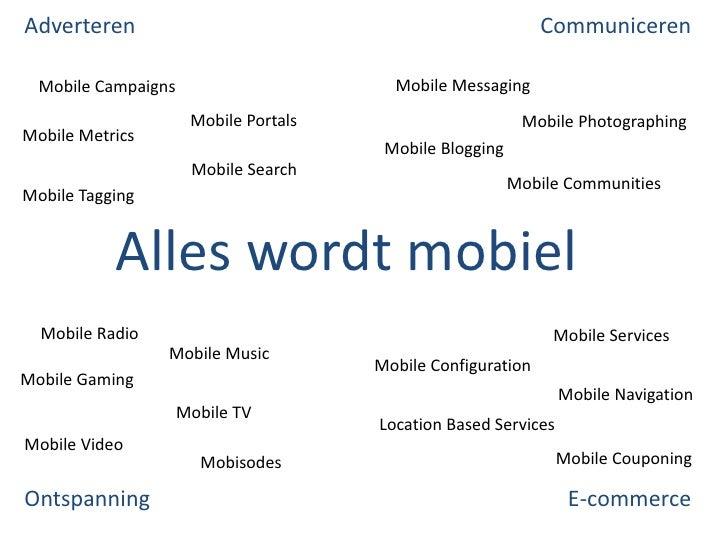 Communiceren<br />Adverteren<br />Mobile Messaging<br />Mobile Campaigns<br />Mobile Portals<br />Mobile Photographing<br ...