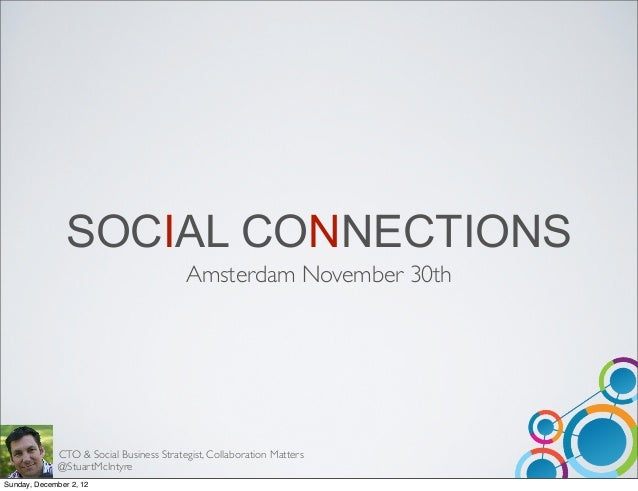 SOCIAL CONNECTIONS                                          Amsterdam November 30th              CTO & Social Business Str...