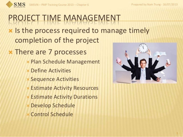 SMSVN – PMP Training Course 2013 – Chapter 6 Prepared by Nam Trung - 16/07/2013 PROJECT TIME MANAGEMENT  Is the process r...