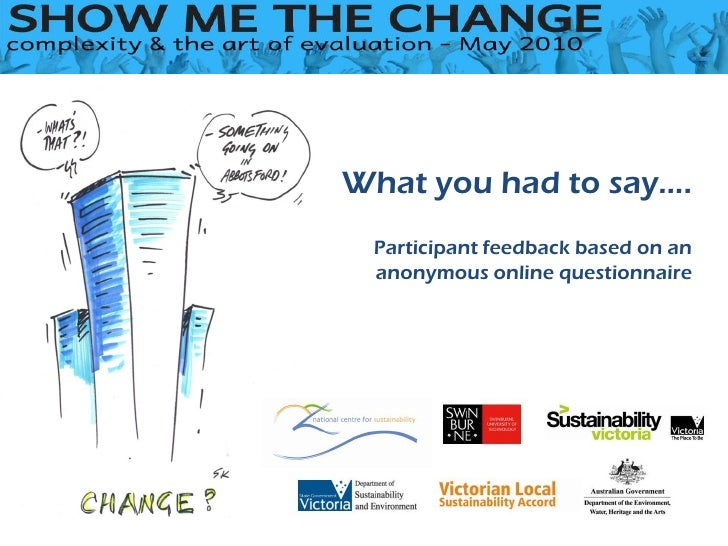 What you had to say….  Participant feedback based on an  anonymous online questionnaire