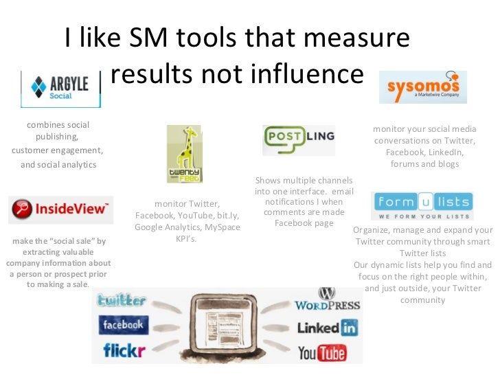 I like SM tools that measure results not influence combines social publishing,  customer engagement,  and social analytics...