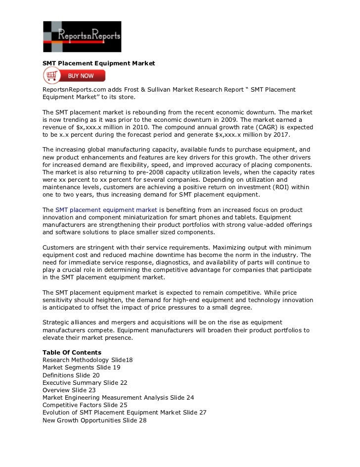 """SMT Placement Equipment MarketReportsnReports.com adds Frost & Sullivan Market Research Report """" SMT PlacementEquipment Ma..."""