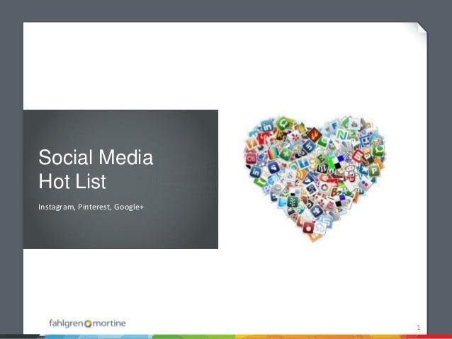 Social MediaHot ListInstagram, Pinterest, Google+                                1