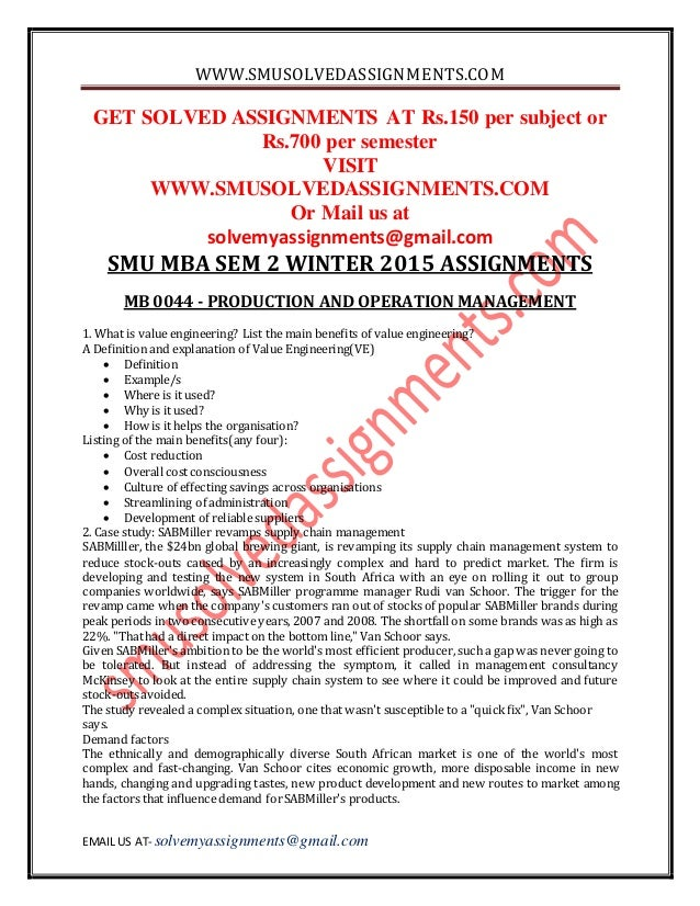 smu mba second semester solved asignments