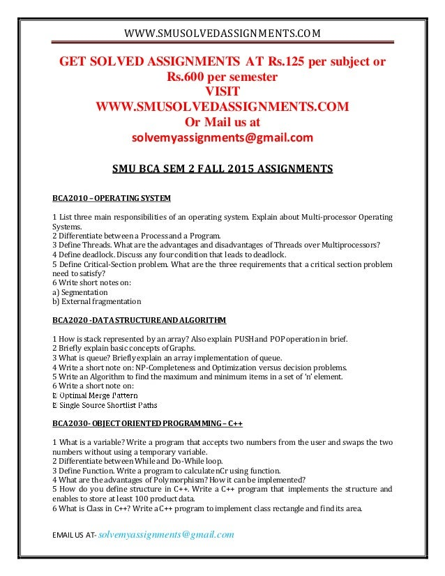 smu bba sem 2 summer 2015 get solved assignments at rs125 per subject or rs600 per semester visit wwwsmusolvedassignmentscom or mail us at solvemyassignments@gmailcom smu bba sem 2 summer 2015 assignments bba 201 1 discuss the primary data collection techniques in detail definition of primary data primary data collection techniques 2 a.