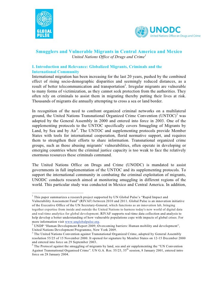 Smugglers and Vulnerable Migrants in Central America and Mexico                           United Nations Office of Drugs a...