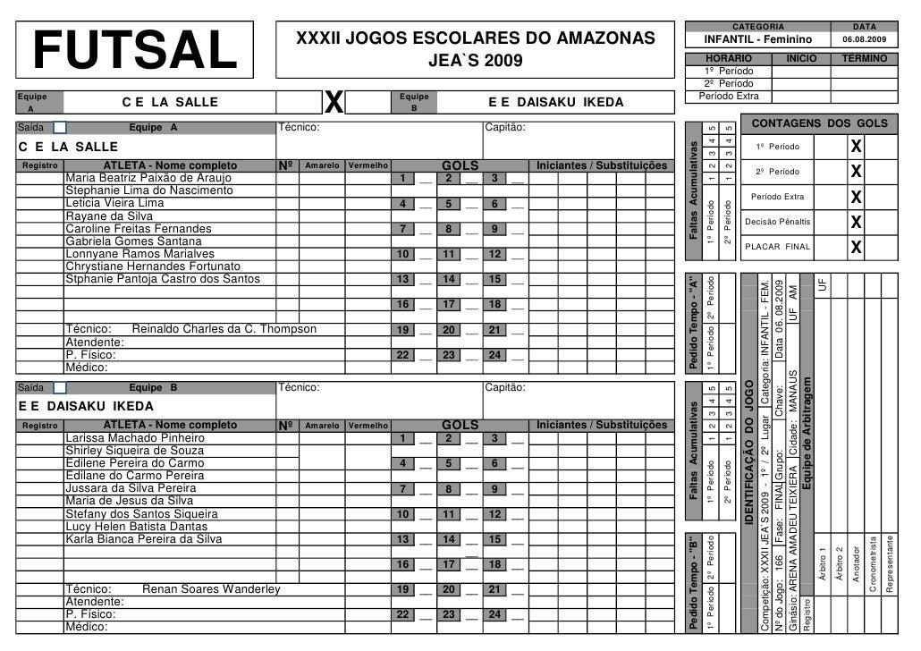 SúMula de Futsal 2009