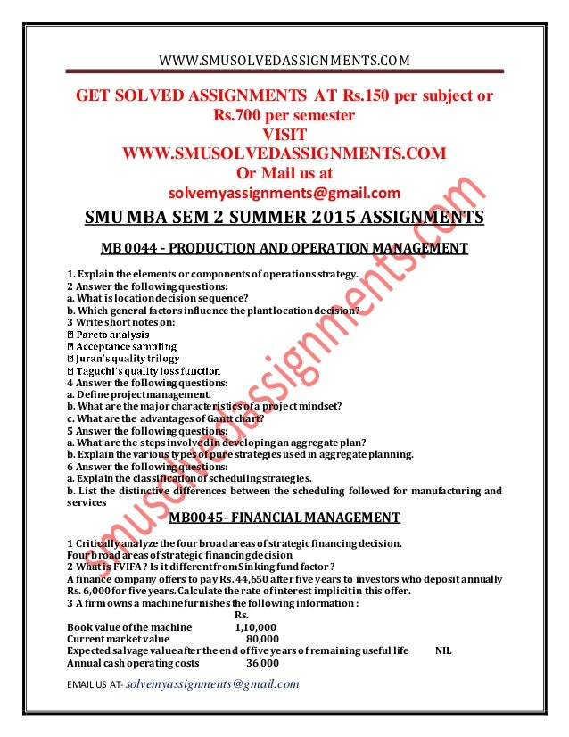smu mba sem 2 assignment answers