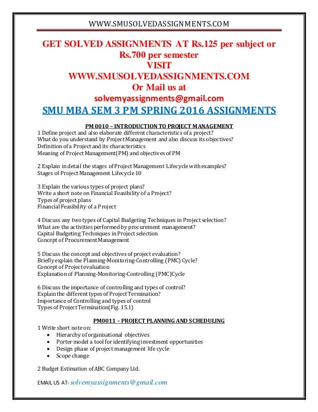 mb0044 smu mba assignment Mb0044 - production and operation management assignment note: answer all get fully solved smu mba assignments for help mail us @ helpmbaassignments@gmail.
