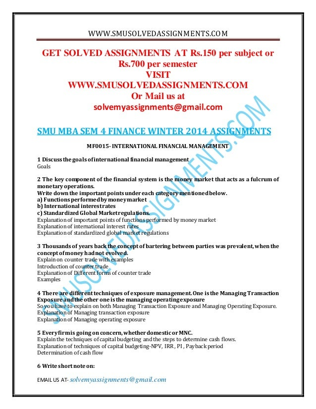 mba 1 sem smu finacial Smu solved mba semester 1 assignment-mb0041 financial and management accounting.