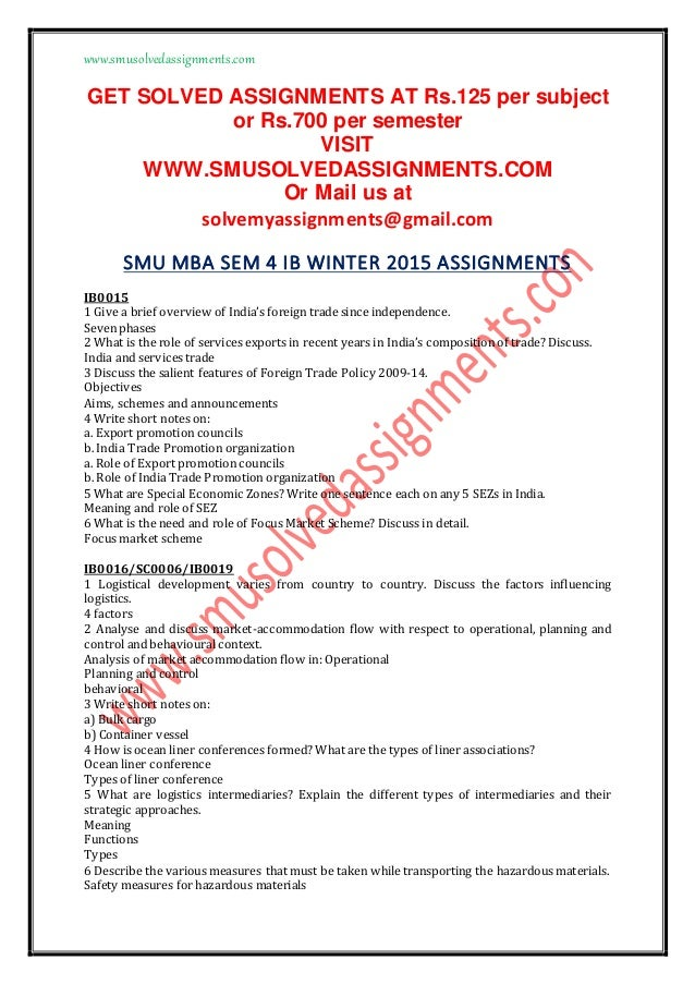 Smu mba assignments