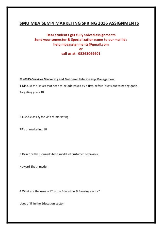 free solved assignments of smu mba 2012