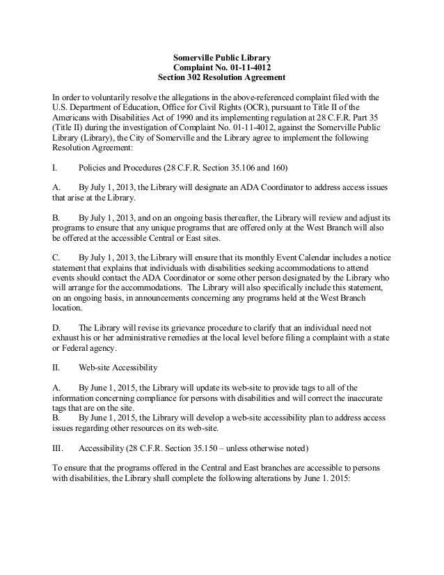 Somerville MA libraries Federal Settlement Agreement May 2013