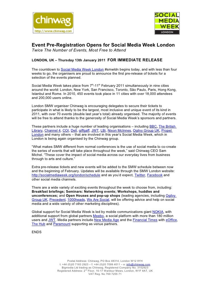 Press Release: Event Pre-Registration Opens for Social Media Week London