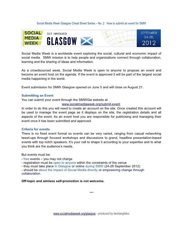 SMW Glasgow cheatsheet 2 - How to submit an event