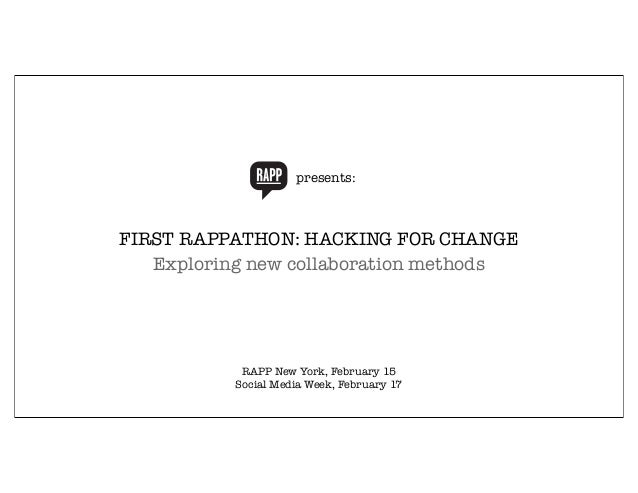 presents: RAPP Orange C:0 M:50 Y:100 K:0 R:247 G:148 B:30 FIRST RAPPATHON: HACKING FOR CHANGE Exploring new collaboration ...