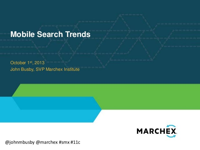 Mobile Search Trends  October 1st, 2013 John Busby, SVP Marchex Institute  @johnmbusby @marchex #smx #11c