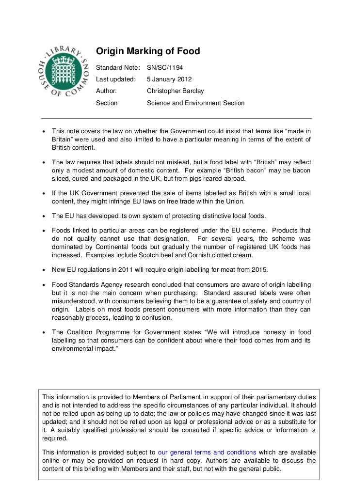 Origin Marking of Food                   Standard Note:    SN/SC/1194                   Last updated:     5 January 2012  ...