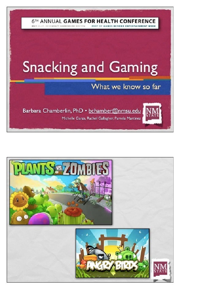 Snacking and Gaming: What We Know So Far - PDF of Slides