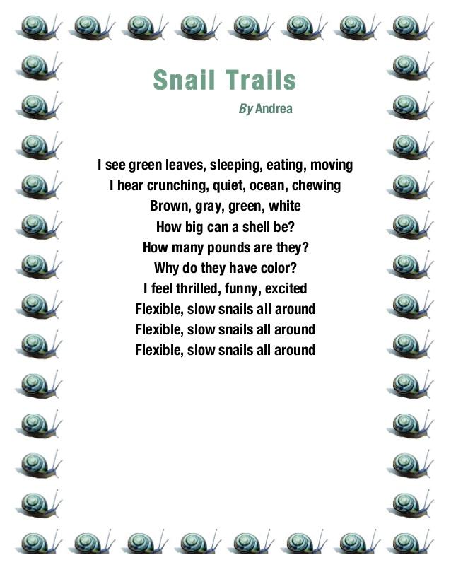Funny 5 grade poems 12 snail trail poem anthology ripon 2014 3rd grade