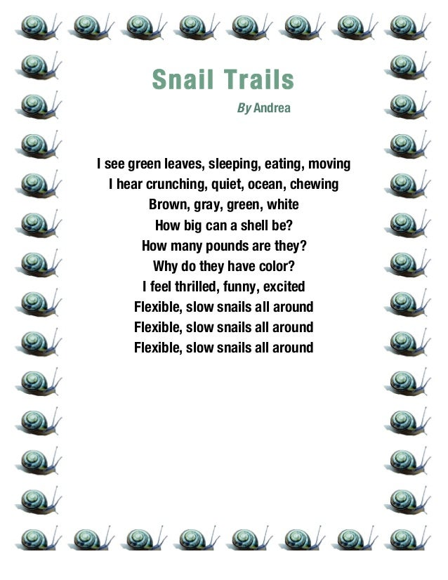 funny 5 grade poems 12 snail trail poem anthology ripon 2014 3rd grade ...