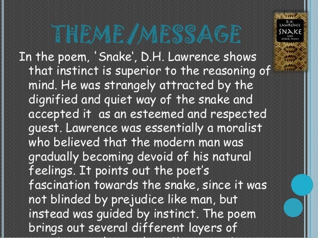 'Snake' by D. H. Lawrence: Thematic Analysis and Devices