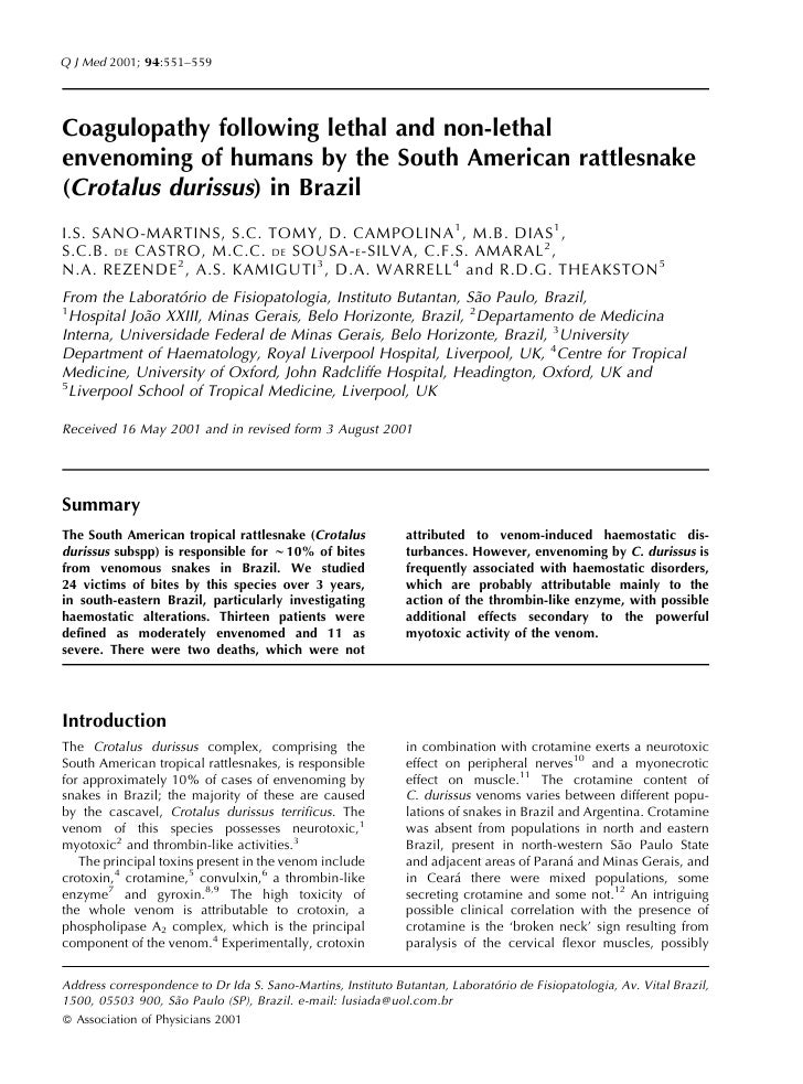 Q J Med 2001; 94:551–559     Coagulopathy following lethal and non-lethal envenoming of humans by the South American rattl...