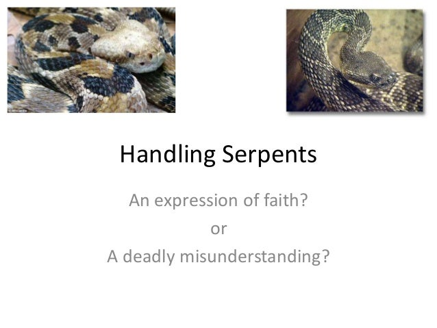 Handling Serpents An expression of faith? or A deadly misunderstanding?
