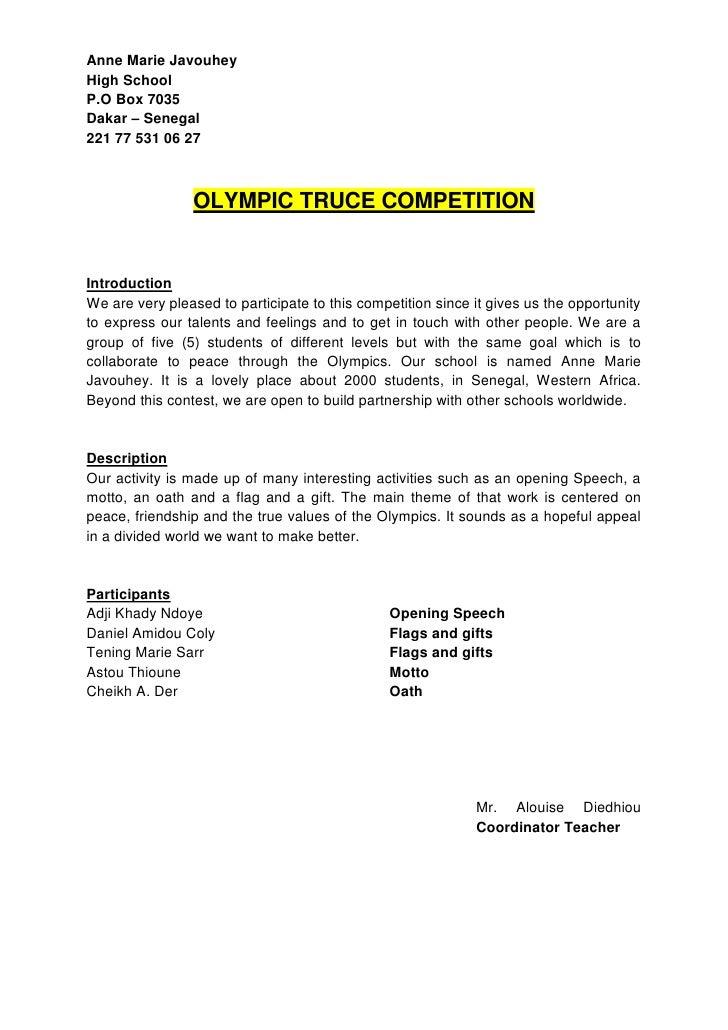 Anne Marie JavouheyHigh SchoolP.O Box 7035Dakar – Senegal221 77 531 06 27                OLYMPIC TRUCE COMPETITIONIntroduc...