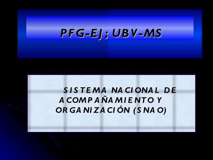 PFG-EJ; UBV-MS SISTEMA NACIONAL DE  ACOMPAÑAMIENTO Y ORGANIZACIÓN (SNAO)