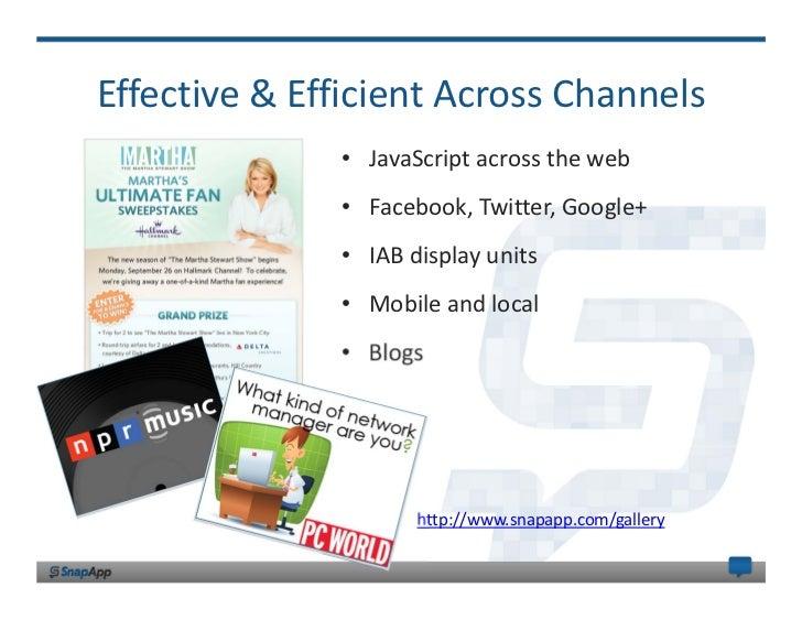 Effective&EfficientAcrossChannels              • JavaScriptacrosstheweb              • Facebook,Twitter,Google+  ...