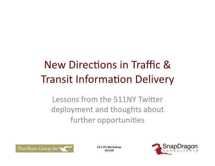 511 NY Social Media Presentation
