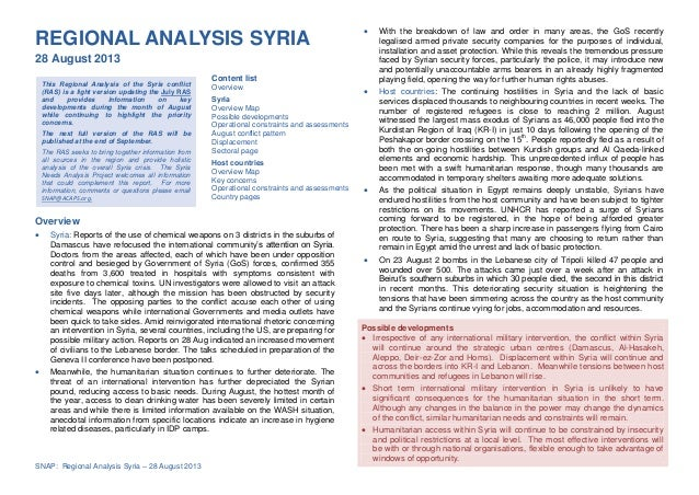 Page 1 of 12 SNAP: Regional Analysis Syria – 28 August 2013 This Regional Analysis of the Syria conflict (RAS) is a light ...