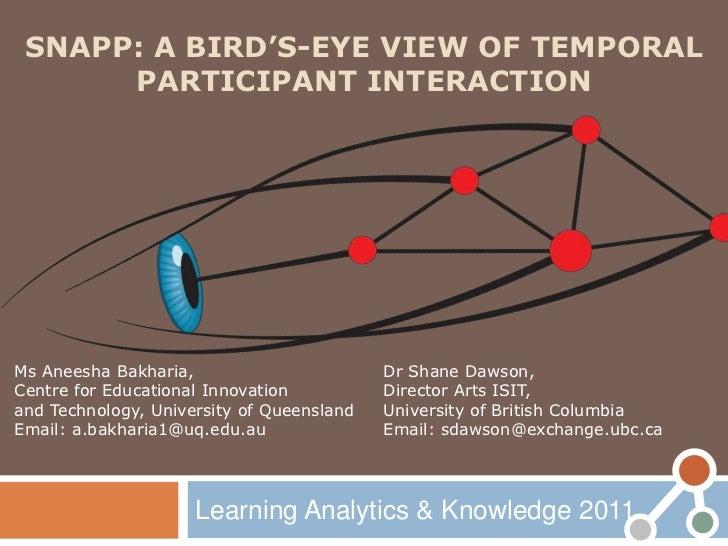 SNAPP: A BIRD'S-EYE VIEW OF TEMPORAL      PARTICIPANT INTERACTIONMs Aneesha Bakharia,                       Dr Shane Dawso...
